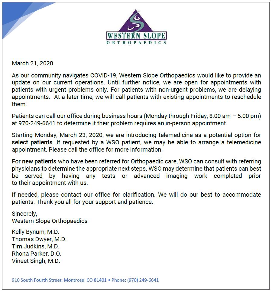 WSO COVID-19 Announcement (click for a closer look)