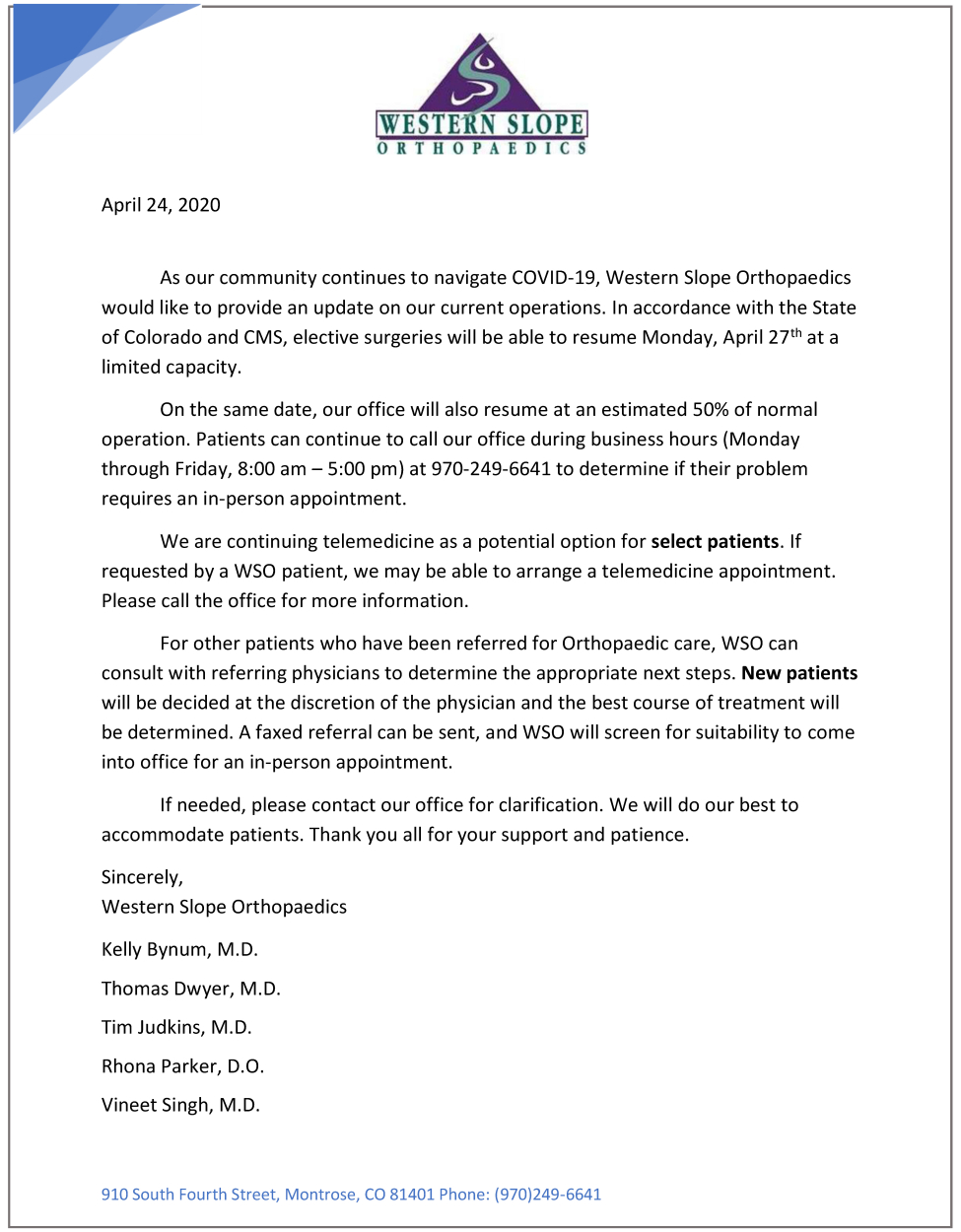 WSO COVID-19 Announcement (click for a closer look)